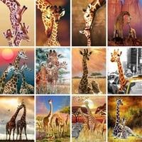 GATYZTORY PEINTURE A LA MAIN Par Numeros Trois Girafes Animaux Peinture A Lhuile Peinte A La Main Decor A La Maison Cadeau Toile Dessin