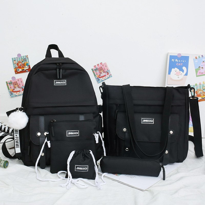5 pcs sets canvas Schoolbags For Teenage Girls Women Backpacks Laptop keychain School Bags Travel Bagpack Mochila Escolar elviswords fruit pineapple printed school backpacks for student children girls laptop rucksacks travel bags women mochila