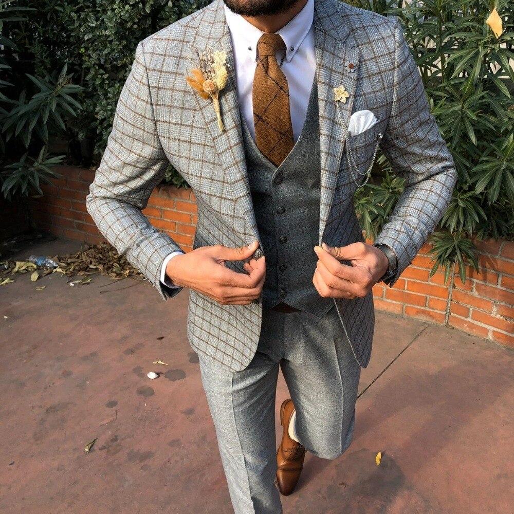 بدلة رسمية عتيقة مصنوعة خصيصًا لحفلات الزفاف ، بدلة رجالية من 3 قطع من التويد (جاكيت + بنطلون + صدرية)