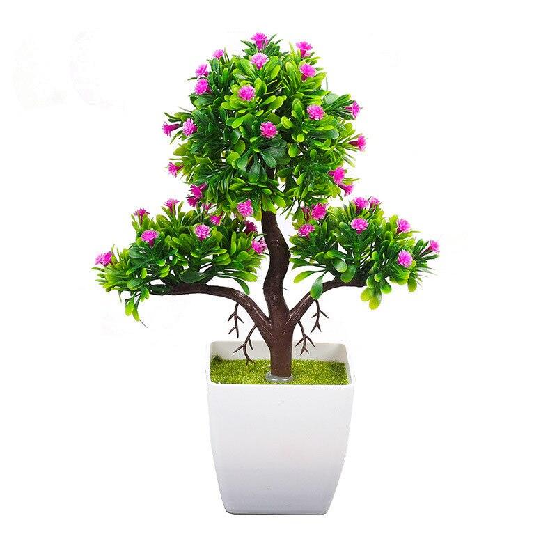 Artificial Plants Bonsai Plastic Simulation Tree Desktop Pot Decorative Fake Flowers Leaves Garden Plant Home Hotel Office Decor