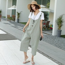 Summer 2021 Japanese Style Fashion Casual Solid Color Jumpsuit Simplicity Wide Legs Loose Women's Ov