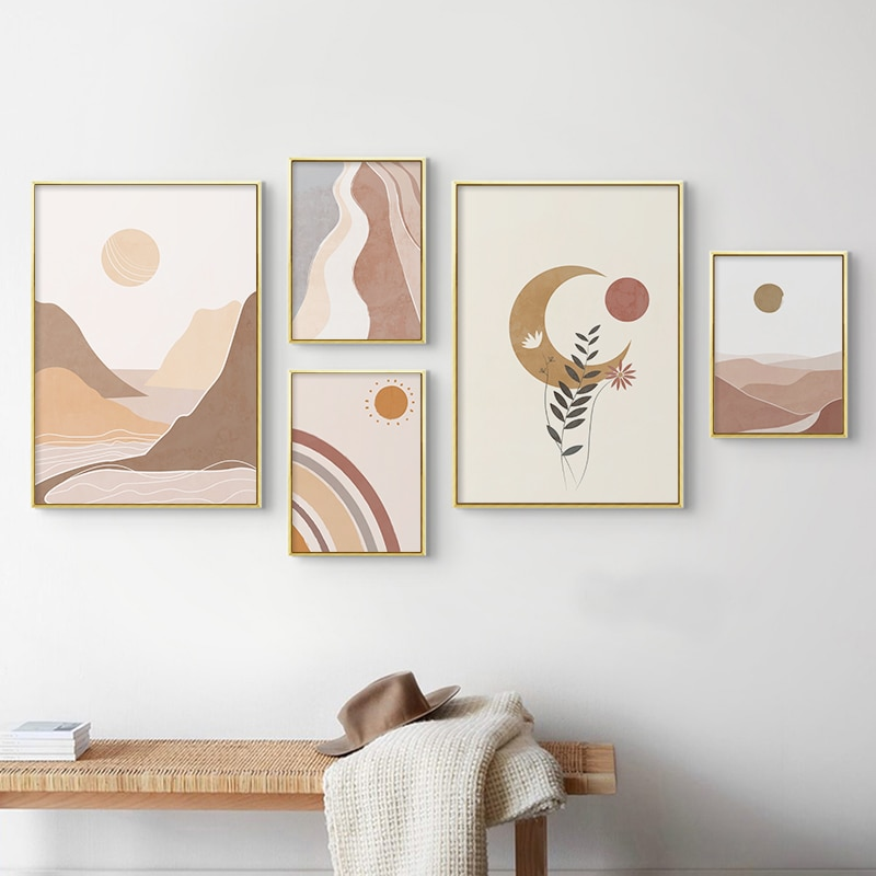 Abstracto boho meados do século paisagem cartaz sol e lua arco-íris montanha quadros da lona impressão arte da parede imagem casa decoração