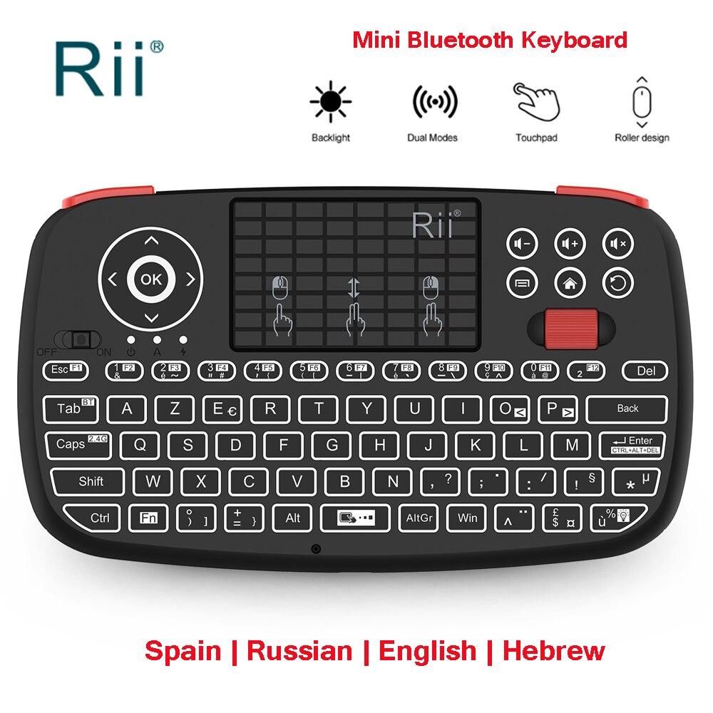 Rii i4 2,4G Mini teclado Bluetooth ruso inglés España teclados inalámbricos con ratón de aire retroiluminado para Windows Android