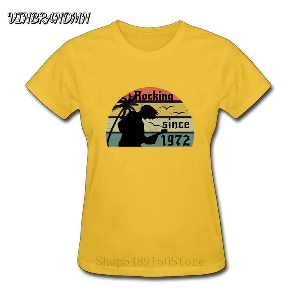 Print Lässige T-shirt Camisetas Schaukel seit 1972 T Hemd Frauen rocker T-shirt O Hals Hip Hop Alten Schule Kurzarm schwere metall