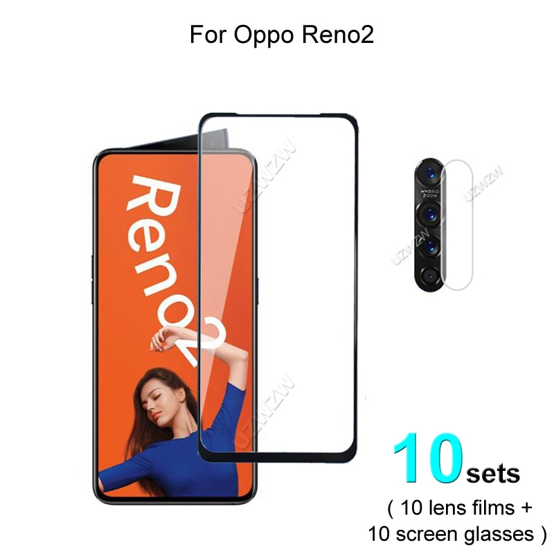 10 sets For Oppo Reno2 Screen Protector Protective Tempered Glass Explosion Proof & Camera Lens Film