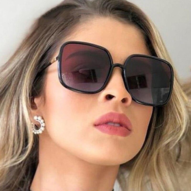 Винтажные большие квадратные солнцезащитные очки для женщин и мужчин, роскошные брендовые дизайнерские прозрачные солнцезащитные очки с з...