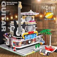 مصباح ليد الطوب مدينة شارع البيت سلسلة موك الخالق خبير الغيتار متجر نموذج تكنيك ألعاب مكعبات البناء ل هدايا للأطفال