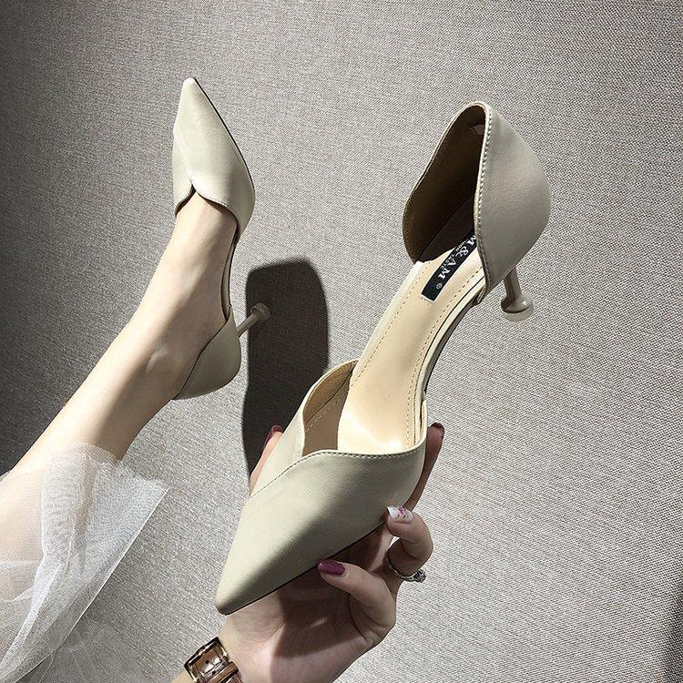 Dulce pequeño fresco solo zapatos 2019 nuevo coreano salvaje punta Baja boca medio hueco tacones altos Stiletto Moda Mujer Zapatos