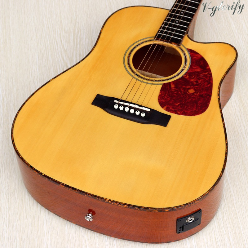 factory made solid spruce top acoustic electric guitar 6 string folk guitar high gloss 41 inch natural color acoustic guitar enlarge