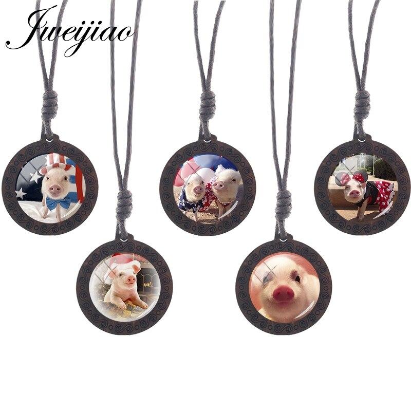 Jweijiao mini animal de estimação porco foto moda colar corda cadeias de madeira pingente colar pequeno porco cabochão de vidro artesanal jóias qf705