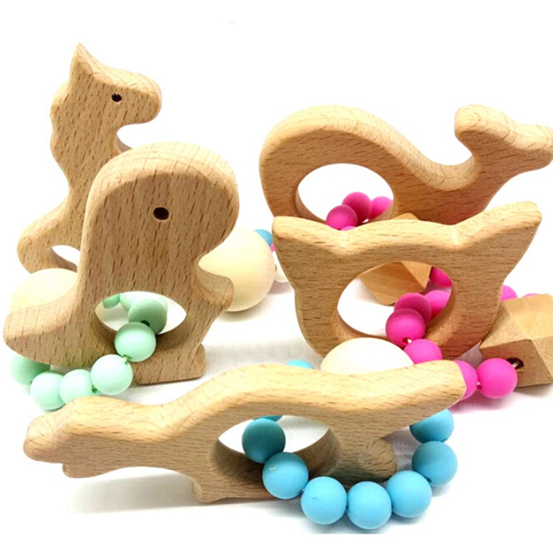 New Arrival Baby Rattle Stroller Toys Wooden Animal Shaped Baby Jewelry Teether Silicone Beads Kids