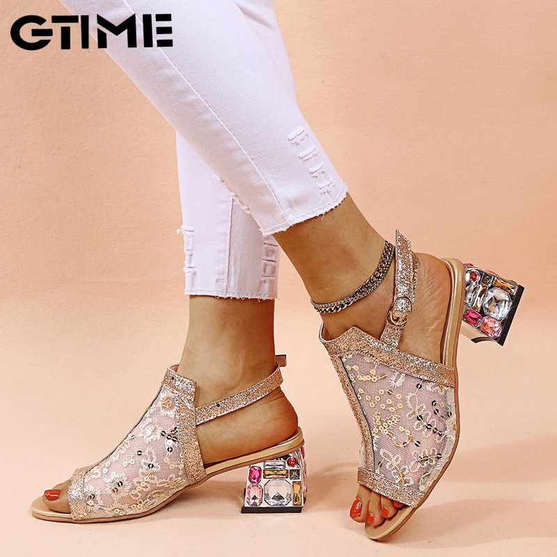 Rhinestone High heel Shoes Women's Summer Style Sandals 2021  Fashion Bling Ladies Open Toe Party Shoes #SJPAE-238 rhinestone high heels bridal wedding shoes sexy ankle belt pump women s shoes 2020 high heel sandals open toe bling party sandal