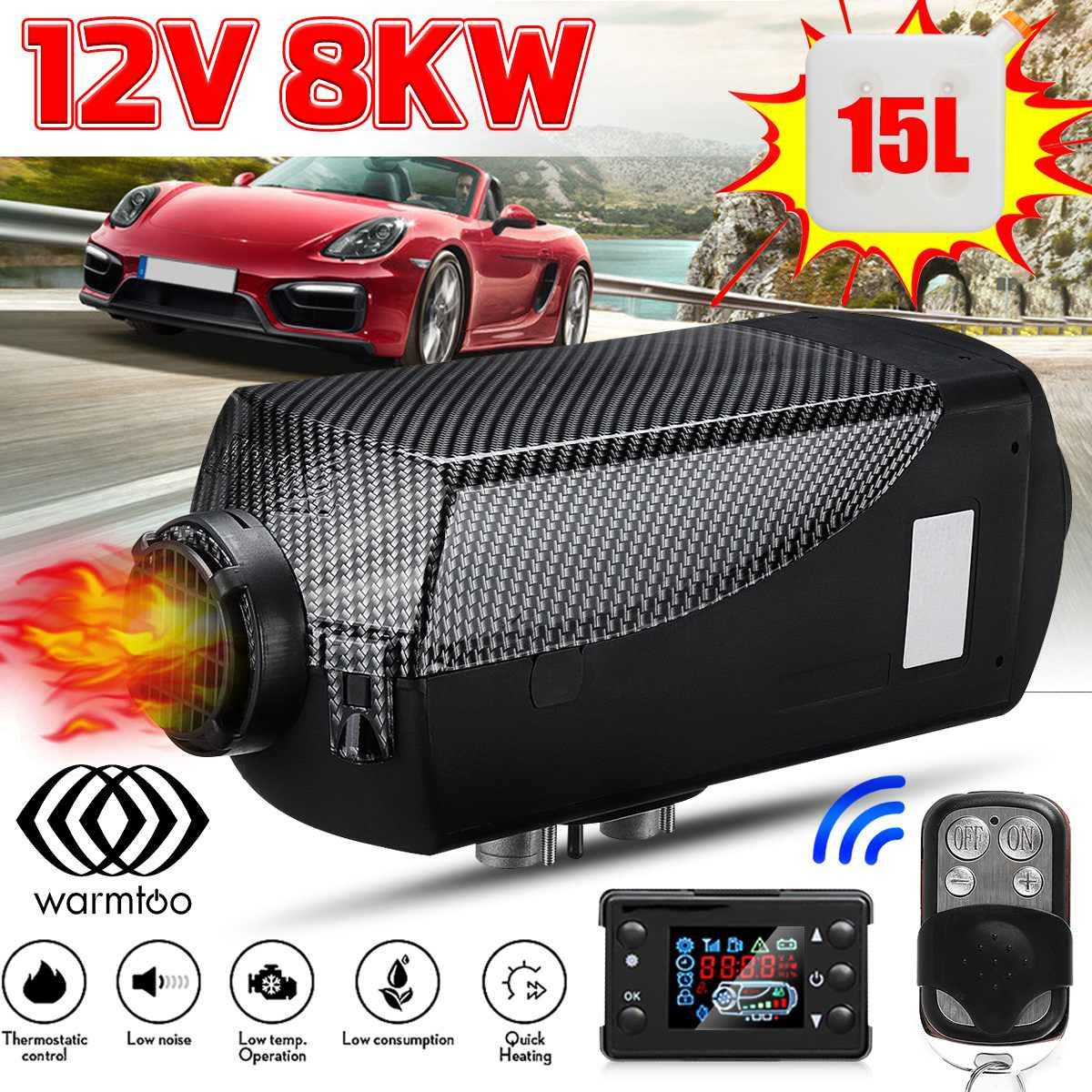 Calentador de coche 12V 8kW, accesorios de coche, calentador de aire Diesel, ventilador LCD, Monitor, Control remoto, calentador de estacionamiento para coche, Descongelador + tanque de combustible de 15l