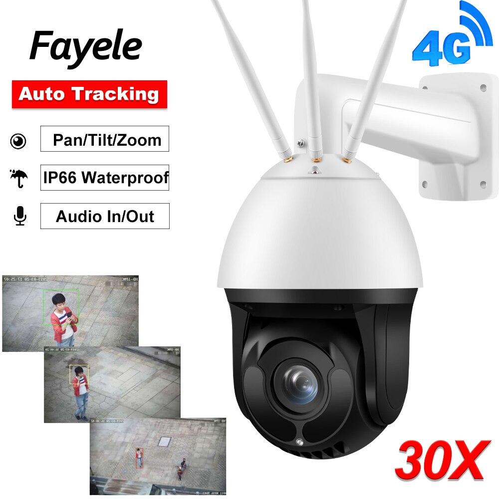 Al aire libre de gran tamaño 3G 4G cámara PTZ LTE SIM 1080P Auto de seguimiento AI cara de detección de cámara IP 30X Zoom Starlight IR 200M Audio/O