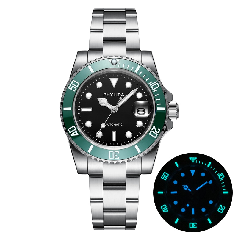 2020 NEW 10ATM 100M Water Resistant 40mm Men's Black Dial Green Sub Diver Watch Automatic MIYOTA Mov't Sapphire Crystal Homage