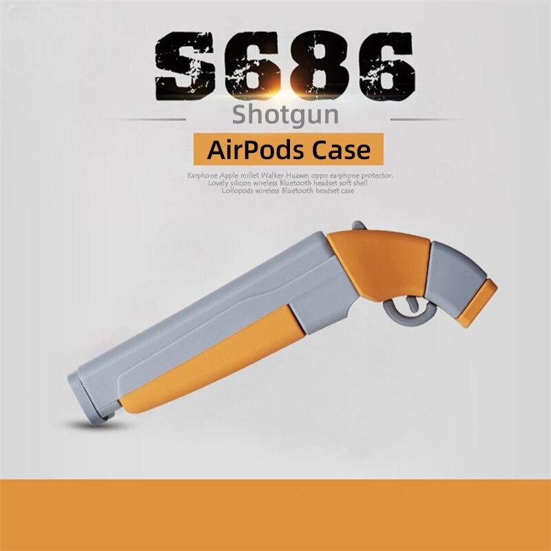 3D de dibujos animados Reactor S686 escopeta para los AirPods 1 2 cubierta de la caja para los AirPods auriculares de silicona a prueba de golpes a prueba de protección