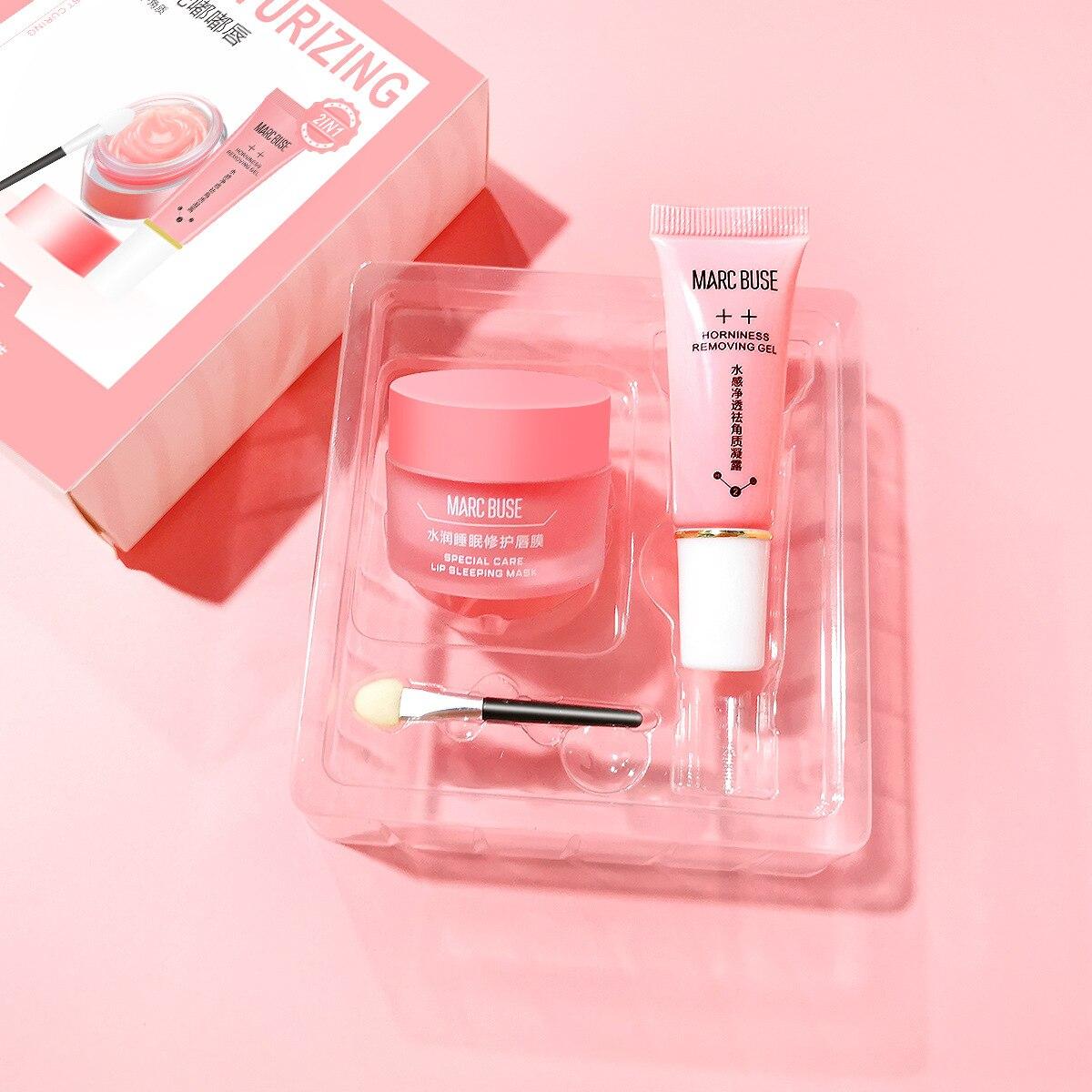 Propolis lip exfoliating gel + repair mask box cream pink moisturizing Sleep care set