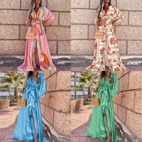 2021 autumn deep v printing button bat sleeve loose middle fork mopping temperament dress