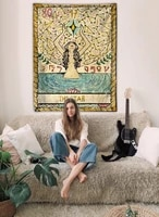 color tarot wall cloth astrological divination sun star moon bedroom living room tapestry indian blanket