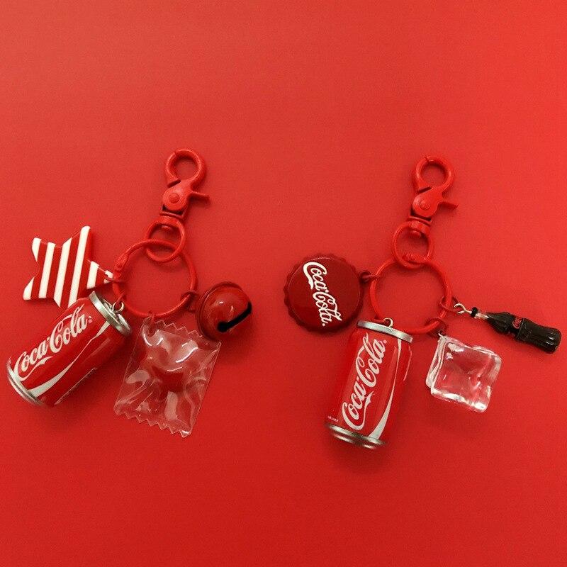 LLavero de Cola para bebidas frescas de apple, llavero creativo con latas, llavero para hombre y mujer, bolsos de coche, llavero colgante para colgante de coche