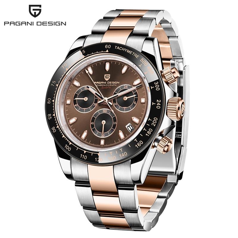 PAGANI تصميم الشوكولاته الرياضة كرونوغراف ساعة اليد الفاخرة ساعة كوارتز للرجال 100 متر مقاوم للماء VK63 التلقائي ساعة التاريخ الرجال