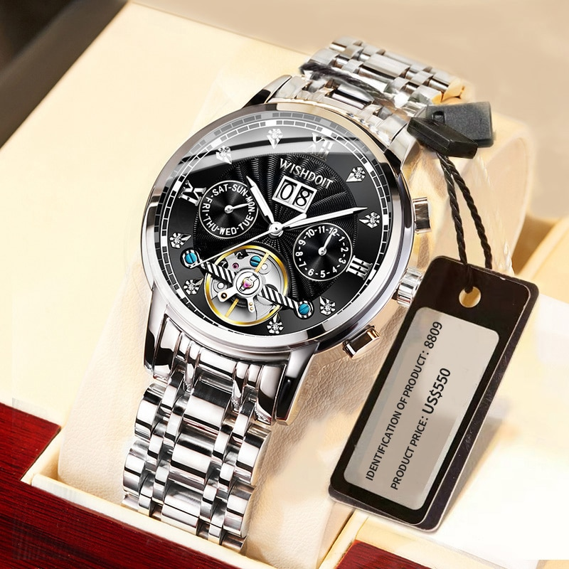 2021Men's مشاهدة العلامة التجارية الفاخرة الفولاذ المقاوم للصدأ التلقائي ساعة ميكانيكية الرجال توربيون ساعة عصرية غير رسمية