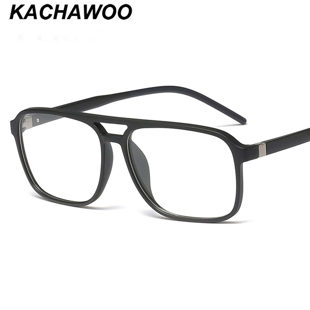 Montura cuadrada de gafas Kachawoo para hombre, gafas grandes, negras, marrones, para hombre, TR90, ligeras, 2020, de moda, tapa plana