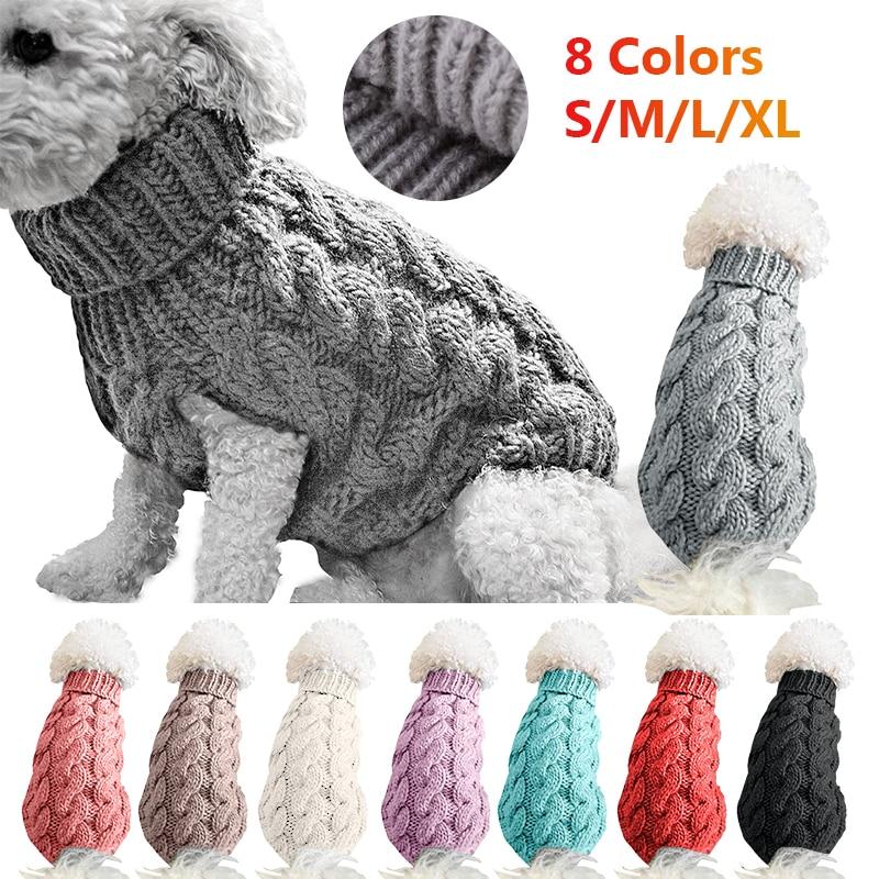 겨울 따뜻한 개 고양이 스웨터 의류 터틀넥 니트 애완 동물 고양이 강아지 옷 의상 작은 개와 고양이 복장 조끼
