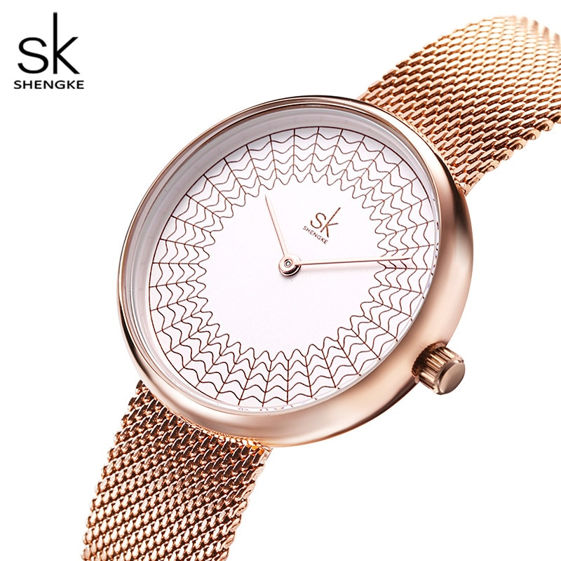 Shengke Dress Women's Watches Women Metal Mesh Fashion Clock Vintage Design Ladies Watch 2020 SK Luxury Brand Classical relogio enlarge