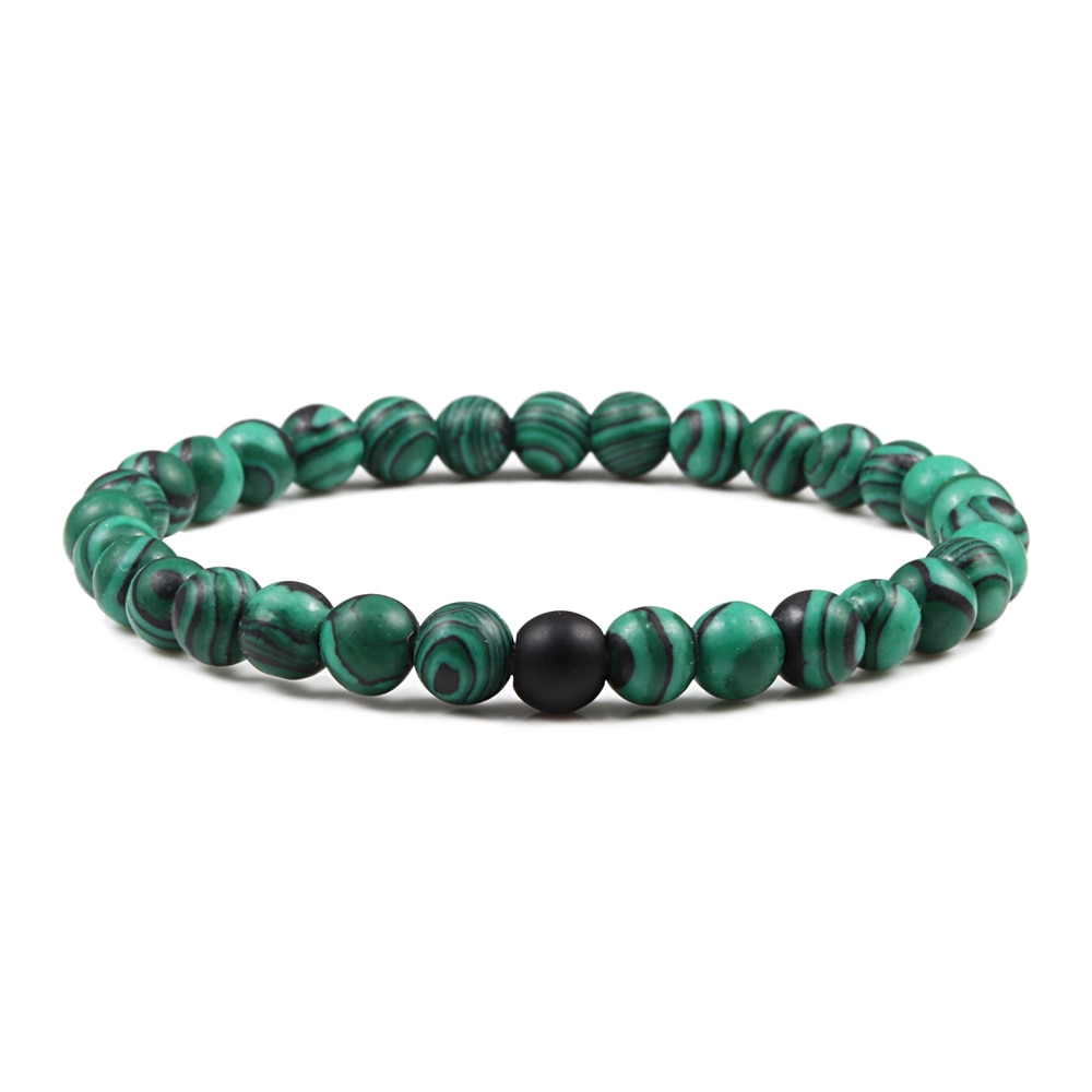 Pulseras de piedra volcánica de malaquita verde Natural para hombres y mujeres, cuentas de Buda con hebra, pulsera de Yoga, oración hecha a mano, regalo de joyería