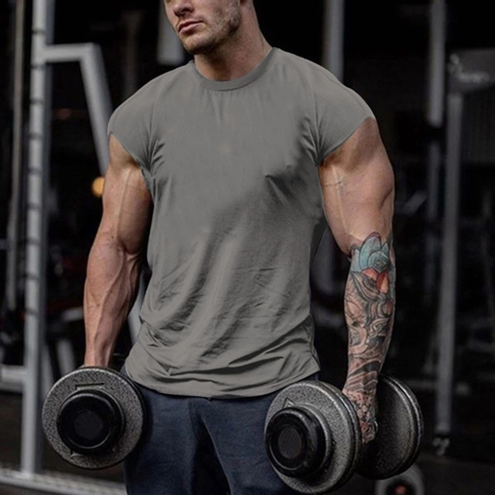 Gym sports men's summer slim solid color muscle fitness classic T-shirt