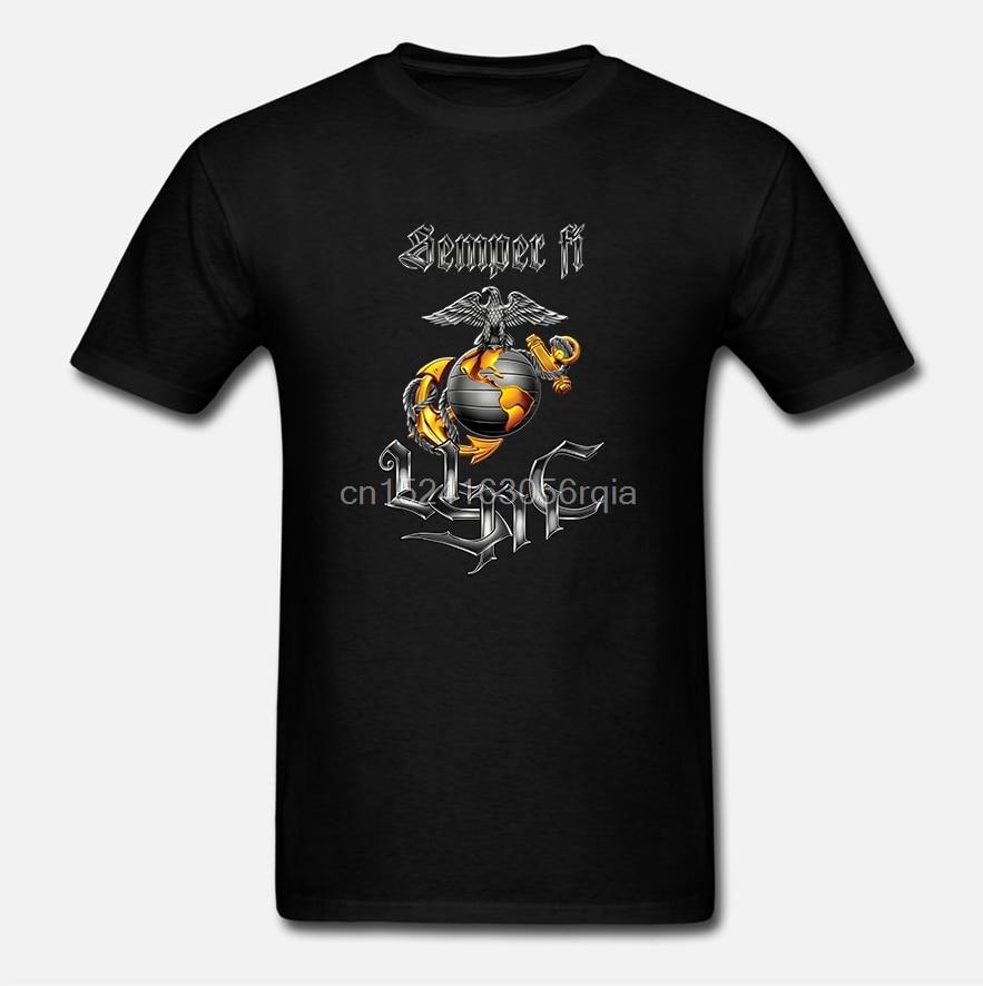Erazor Bits Apparel Camiseta de manga larga USMC Cuerpo de Marines Semper Fi cromo perro de dibujos animados camiseta hombres Unisex nueva camiseta de moda