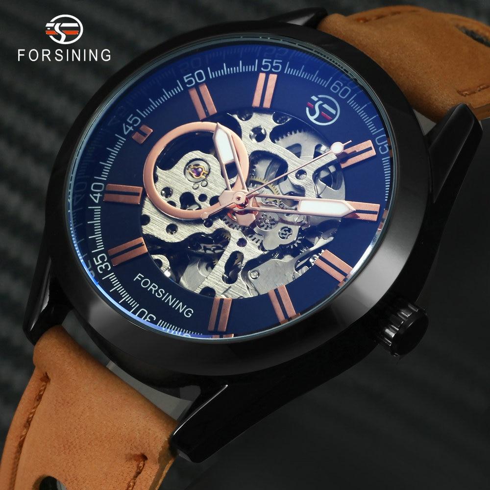 2019 FORSINING hombres militares automático relojes mecánicos nobuck cuero genuino marca superior de lujo moda esqueleto reloj de pulsera