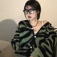 fall 2020 women women cardigan zebra pattern v neck loose casual all match single stripe breasted knitted harajuku sweater