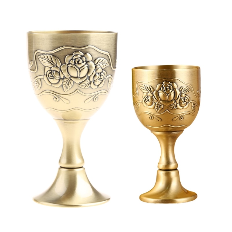Metal Wine Glass European Style Antique Bronze  Wine Cup White  Russian Goblet M17D