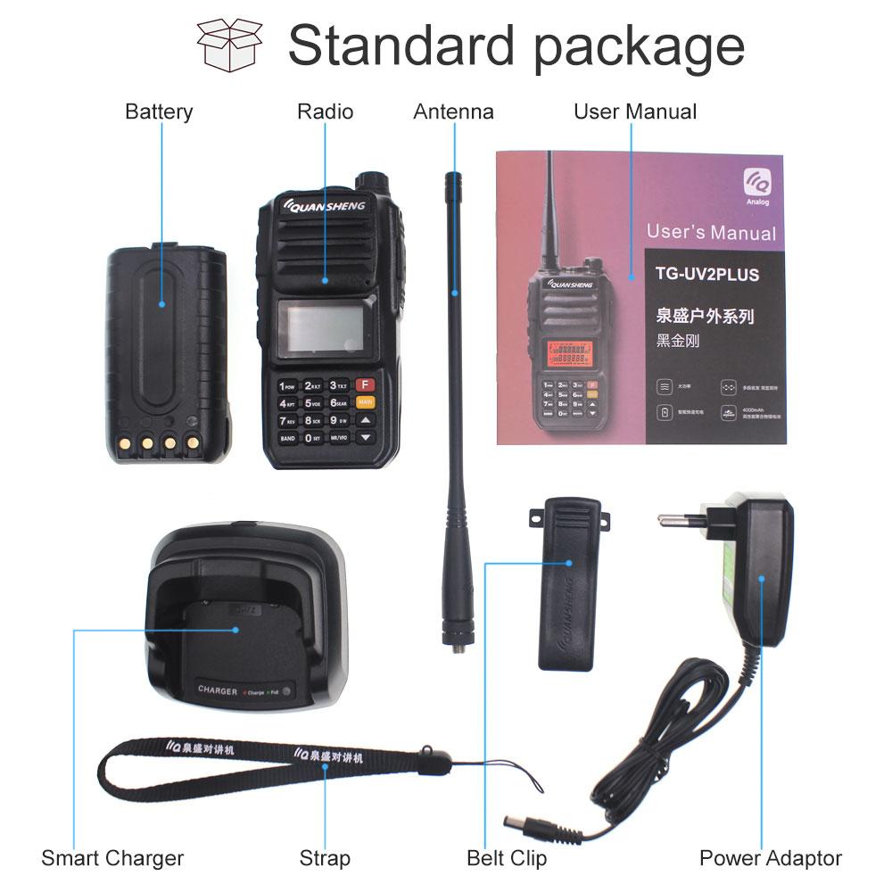 Walkie-Talkie 10 KM QuanSheng TG-UV2 Plus 10W Long Range Talkie Walkie 10 KM 4000mah Radio vhf uhf Dual Band Long Standby enlarge