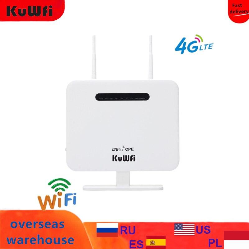 KuWFi مقفلة 4G LTE راوتر 300Mbps راوتر لاسلكي CPE ومودم لاسلكي AP LTE جهاز توجيه ببطاقة SIM Solt 2 * 5Dbi هوائي خارجي