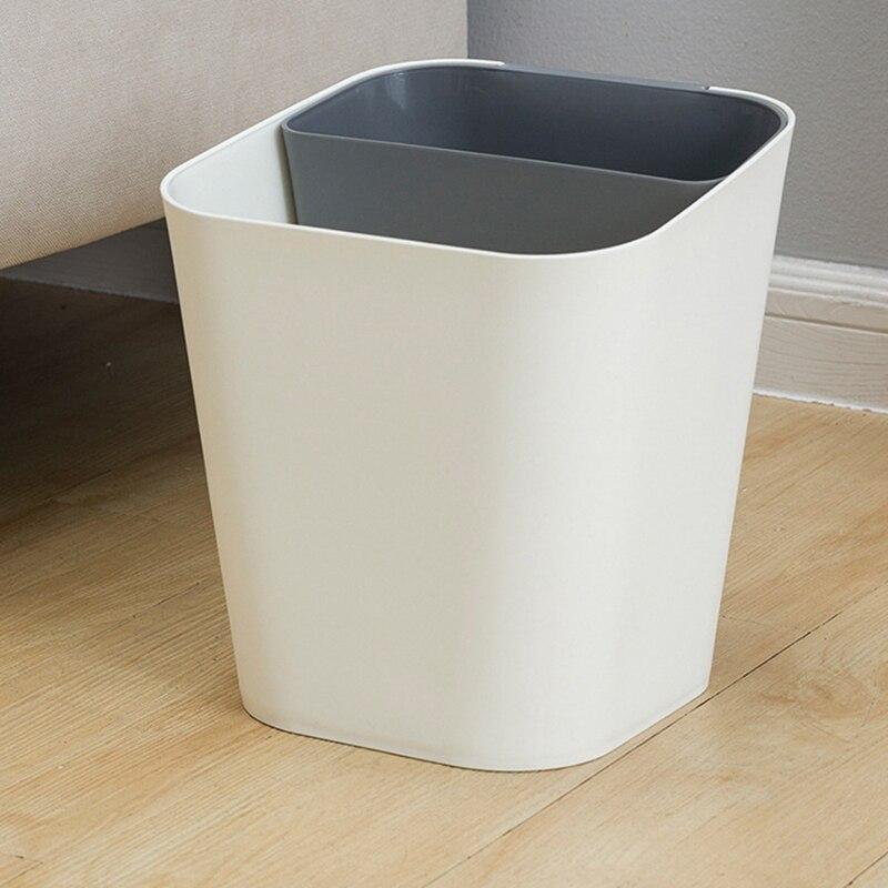 Papelera de 13l, Clasificación en seco y mojado, para el hogar, sala de estar, cocina, baño, papelera, Cubo de polipropileno grueso, gris y blanco