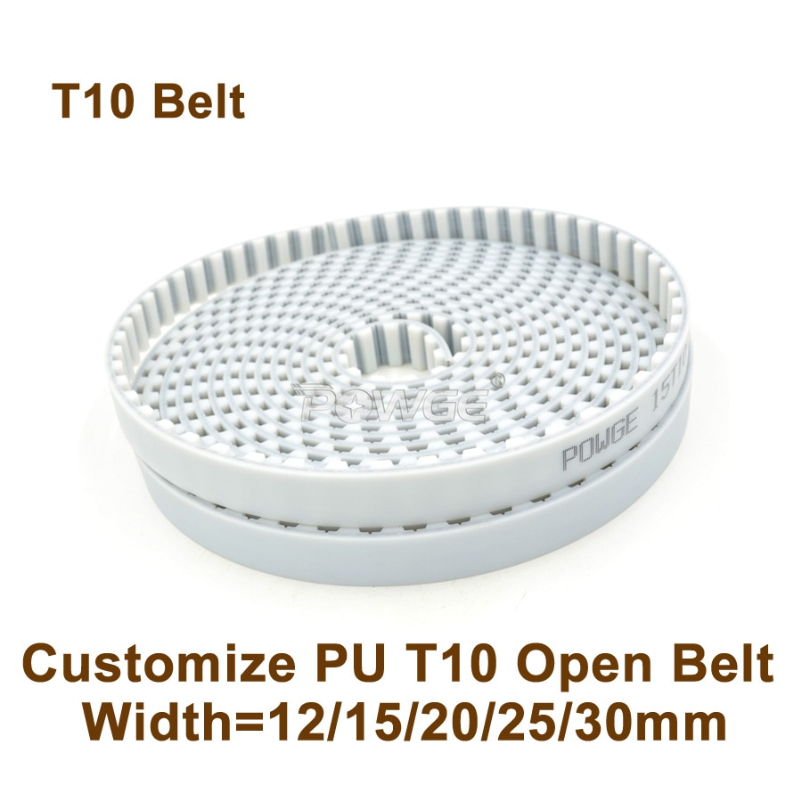 POWGE تخصيص متزامن حزام ث = 12/15/20/25/30 مللي متر الملعب = 10 مللي متر بولي PU مع الصلب الأساسية T10 AT10 T10 توقيت حزام بكرة