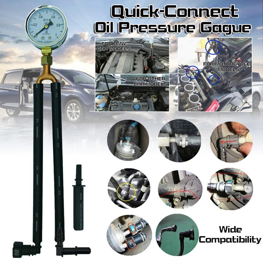 Calibrador de presión de combustible para automóvil, medidor de prueba, herramienta de presión de gasolina, medidor de presión de gasolina de conexión rápida