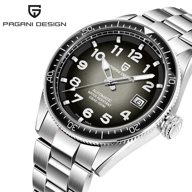 PAGANI DESIGN-ساعة فاخرة للرجال ، كرونوغراف أوتوماتيكي من الفولاذ المقاوم للصدأ ، مقاومة للماء ، ساعة ميكانيكية ، تاريخ ، رياضية