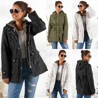 new coat collar belt inside wool womens medium long cotton dress black and white