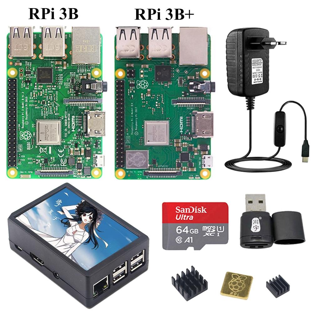 Raspberry Pi 3 ، جراب ABS أصلي ، شاشة تعمل باللمس 3.5 بوصة 480 × 320 ، مزود طاقة ومبرد حراري لـ Raspberry Pi 3 موديل B 3B