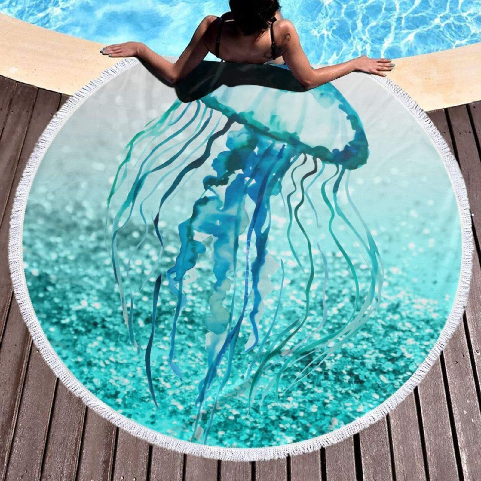 منشفة شاطئ دائرية ملونة قنديل البحر بطانية كبيرة من الألياف الدقيقة أشرطة ماصة سميكة شرابة حمام اليوغا حصيرة نسيج 59 بوصة