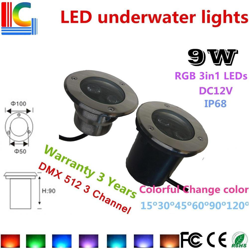 3W 9W LED luz subacuática 12V impermeable jardín decorativo estanque fuente piscina IP68 lámparas LED para el suelo cascada