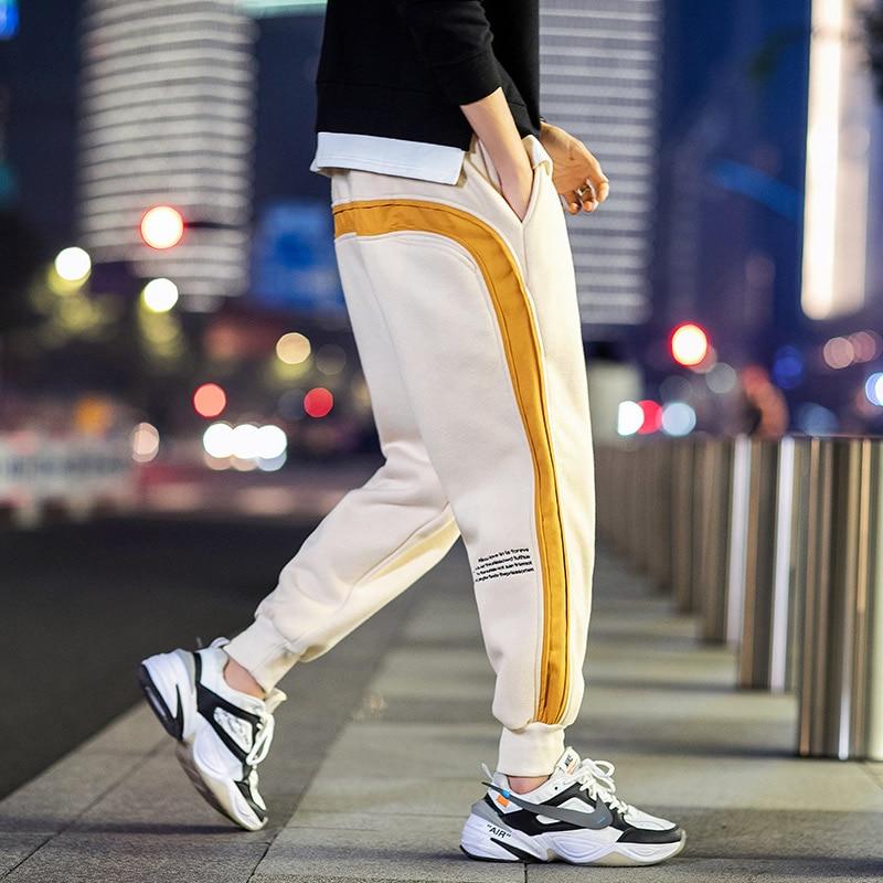 Мужские штаны для бега спортивный мужской с эластичным поясом, повседневные теплые флисовые штаны свободного покроя, удобные спортивные шт...