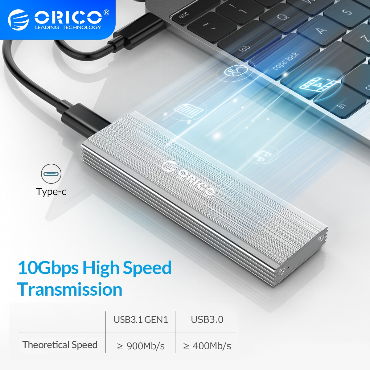 ORICO M.2 SSD Enclosure Adapter NVMe NGFF Aluminum M2 SSD Case USB3.1 Type-C Gen2 10Gbps for 2230/2242/2260/2280 SSD Up to 2TB