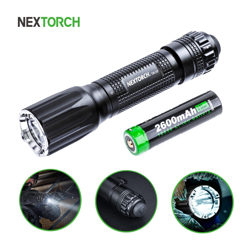 NEXTORCH TA30, linterna táctica LED de 1300 lúmenes, batería de 18650, linterna de policía militar resistente al agua recargable, Ultra brillante