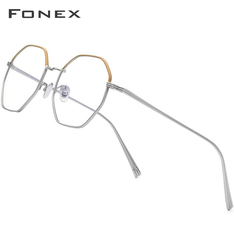 إطار نظارات من FONEX التيتانيوم الخالص للرجال فائق الخفة وقصر النظر وصفة طبية إطار نظارات للنساء نظارات نسائية 880