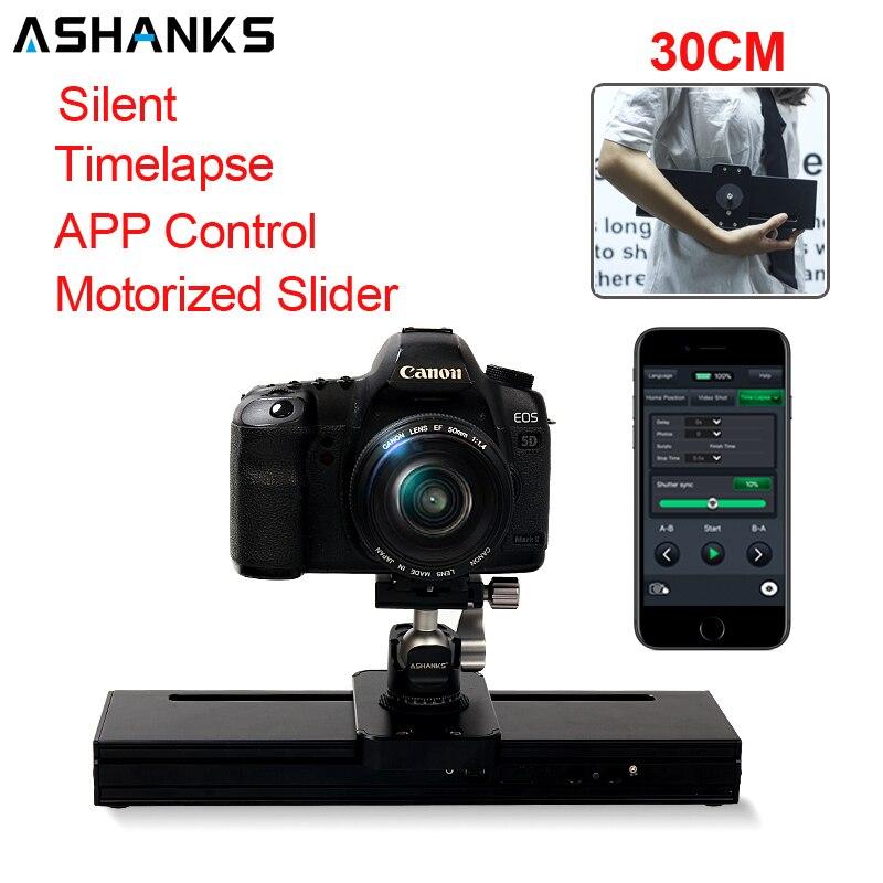 ASHANKS-منزلق كاميرا آلي 30 سنتيمتر ، مع تحكم إلكتروني صامت لكاميرا Micro SLR Gopro Mibile